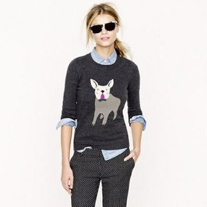 J.Crew Frenchie Dog Merino Wool Blend Sweater Navy